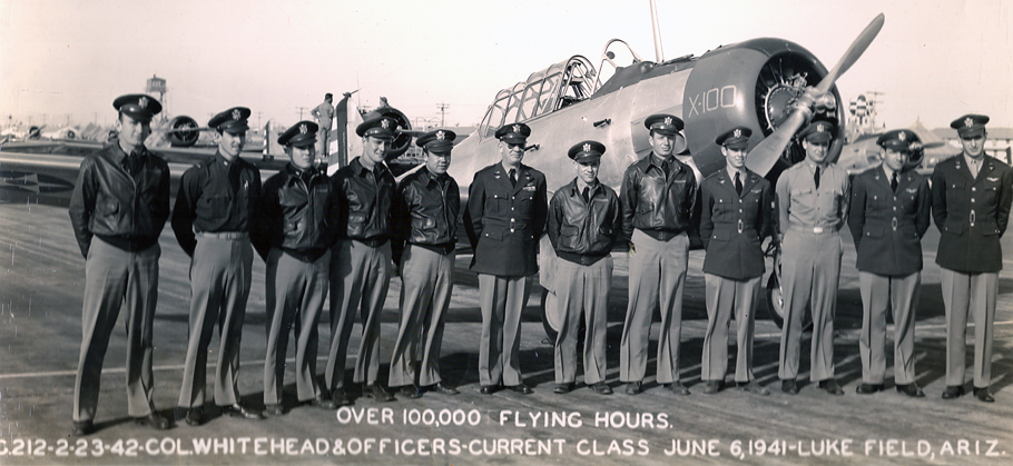 Luke Field-Flight Instructor Herb Cumming (far left) with AT-6 Students.