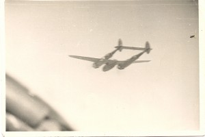 Herb's photo taken from the cockpit of his P-38 of his wingman's P-38.