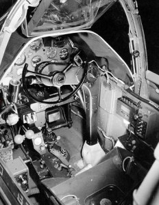 View inside P-38 cockpit from left wing. Note the early style yoke.